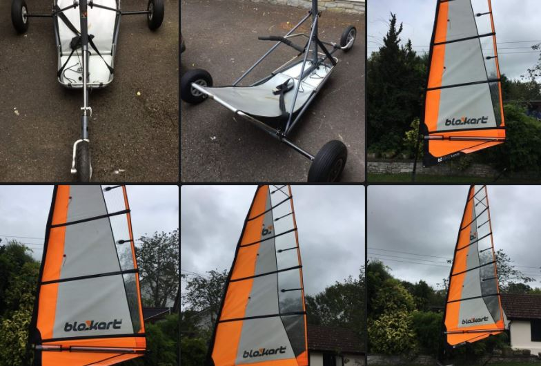 Comp kart with 4m and 5.5m sails in good condition, Inc a brand new 6pc fibreglass mast