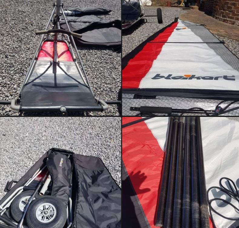 Sport kart with 3m sail, has enough mast sections for a 5.5 sail