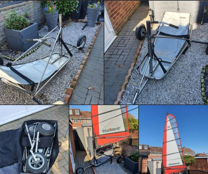 Used Pro (stainless) kart with 5pc fibreglass mast and 4m sail